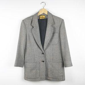 Fendi Vintage Black White Tweed Jacket Size 8